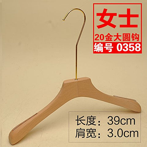 Kexinfan Hanger Wedding Dress Alder Wood Hangers Clothing Store Solid Wood Luggage Support No Varnish Natural Natural Wood Slip Hanger Gold Hook, 10, 20 Gold Dayuan 0358