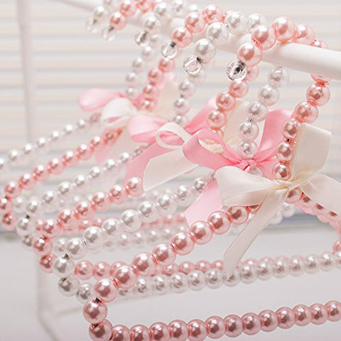 Bueer 5 Pack Pearl Beads Metal Elegant Rosette Clothes Hangers For Kids Children Pet Dog (Pink)