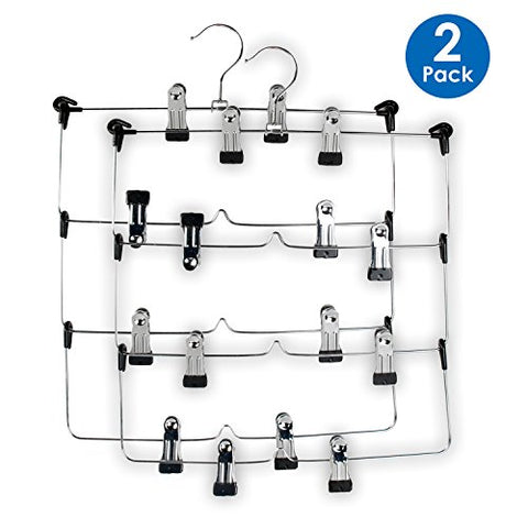 LOHAS Home 4 Tier Skirt Hanger Pants Hanger Stainless Steel Foldable Space Saving Hangers (2-Pack)