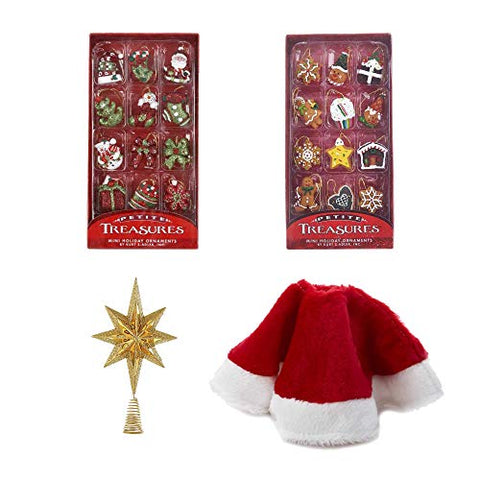 Kurt Adler Mini Christmas Tree Decoration Set: 24-Piece Mini Ornaments with Hangers, Tree Skirt, and Gold Tree Topper