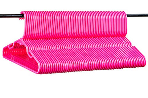 Neaties American Made 60 Premium Children's Pink Plastic Hangers with Notches and Heavy Duty Flexible Construction, 60pk