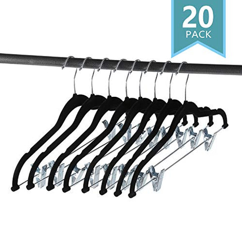 SMART ONYE Pack of 20 Strong and Durable-Heavy Duty-Velvet Clothes Hangers with Clips-Space Saving Velvet Skirts Hangers-Non Slip Velvet Pants Hangers-360 Degree Swivel Hook-Black