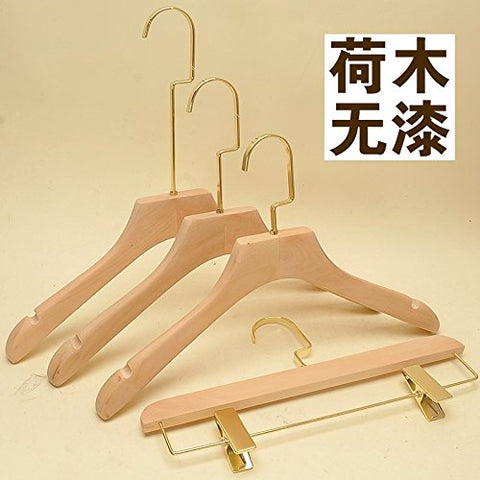 Kexinfan Hanger Clothing Store Women'S Clothing Wood Color Natural Environmental Protection No Paint Wood Hanger Adult Clothes Hanging, 10, 20 Gold Side 0114 Hemu Not Paint Flat Head With Teeth
