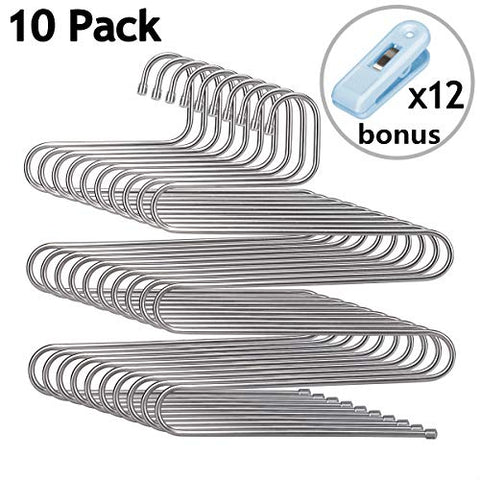 HOMEIDEAS Pants Hangers Space Saving S-Shape/Type Multi Layers Pants Hangers Organizer Stainless Steel for Jeans Scarf, Bonus with 12 Clips(5 Layers,10Pcs)