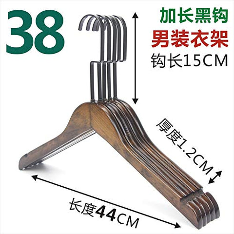 Kexinfan Hanger Solid Wood Hanger Men'S Women'S Children Wooden Clothing Hanging Adult Clothing Support Hanger Hanger Pants Clip, 10, 38 Men'S 15Cm Black Flat Hook Ordinary Hanger