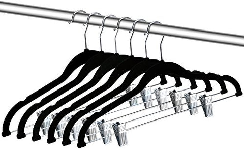 ZOYER Velvet Clothes Hangers with Clips (12 Pack) Velvet Skirt Hangers - Non-Slip Pant Hangers (Black)