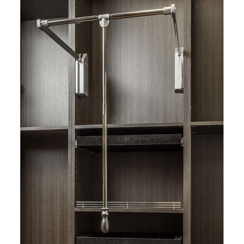 Budget soft close wardrobe lift polished chrome expanding heavy duty steel tubing with silver plastic housing 45 lb weight rating for 25 1 2 35 openings