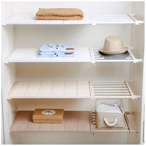 Heavy duty hyfanstr adjustable storage rack expandable separator shelf for wardrobe cupboard bookcase compartment collecting length 28 7 51 width 16 5 white
