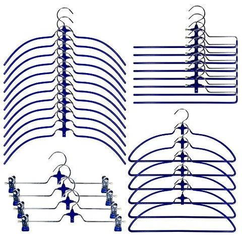 Cascading Hangers Closet Organizers - Pack of 30, Blue