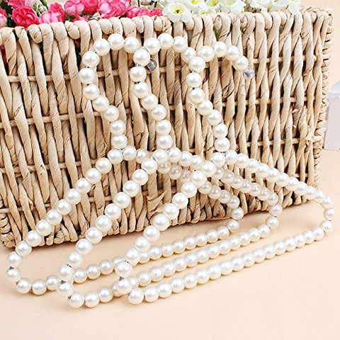 Bueer 3 Pack White Pearl Beads Metal Elegant Clothes Hangers For Kids Children Pet Dog
