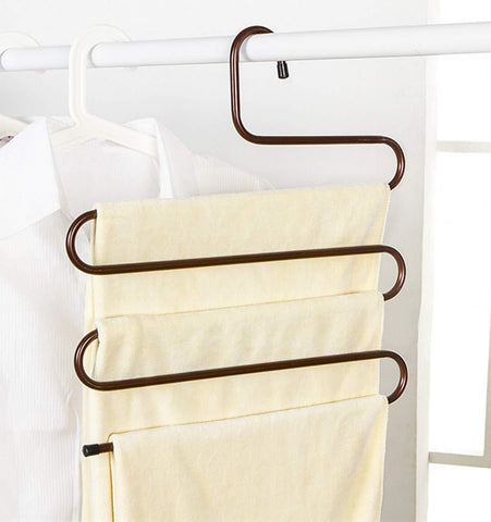 Durable Pants Hangers Clothes Organizer Space Saver Storage Rack for Hanging Jean Trouser Tie Scarf Belt Jewelry Clothing Accessories Brown Pack 2