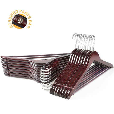 TOPIA HANGER Extra Strong Cherry Wooden Suit Hangers, Solid Wood Coat Hangers, Glossy Finish with Extra Thick Chrome Hooks & Anti-slip Bar, 16-Pack CT01M