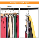 Frezon Pants Hangers, Space Saving Skirt Hangers with Clips Metal Trouser Clip Hangers Four Tier Heavy Duty Ultra Thin with 360 Degree Chrome Swivel Hook 5 Pack
