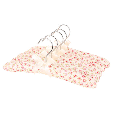 Neoviva Kids Floral Satin Padded Hangers for Sweaters Thick Anti Slip Fabric Coat Hanger for Dresses, Pack of 5, England Roses White