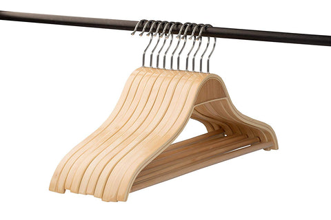 A1 Hangers wooden hangers Natural Set of 10 PACK clothes hangers, coat hanger and suit hangers