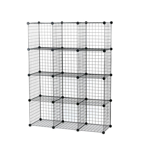 Select nice unicoo multi use diy 12 cube wire grid organizer bookcase bookshelf storage cabinet wardrobe closet toy organizer wire cube storage black wire
