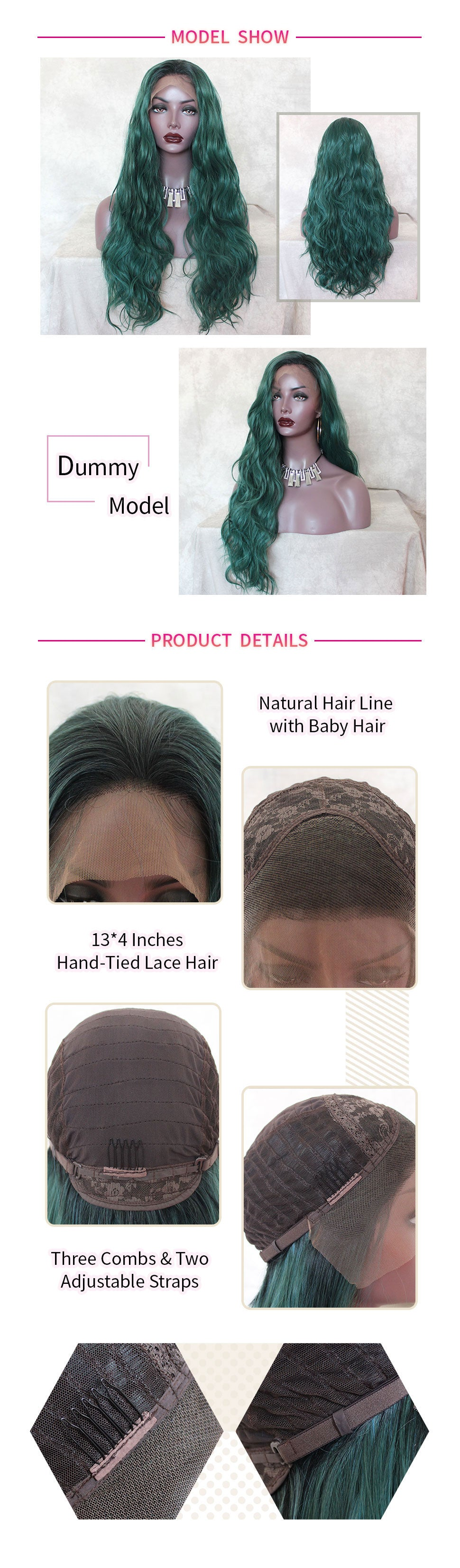 ReadyWig Green Loose Wavy Dark Roots Synthetic Lace Front Wig  24 Inches-hair details