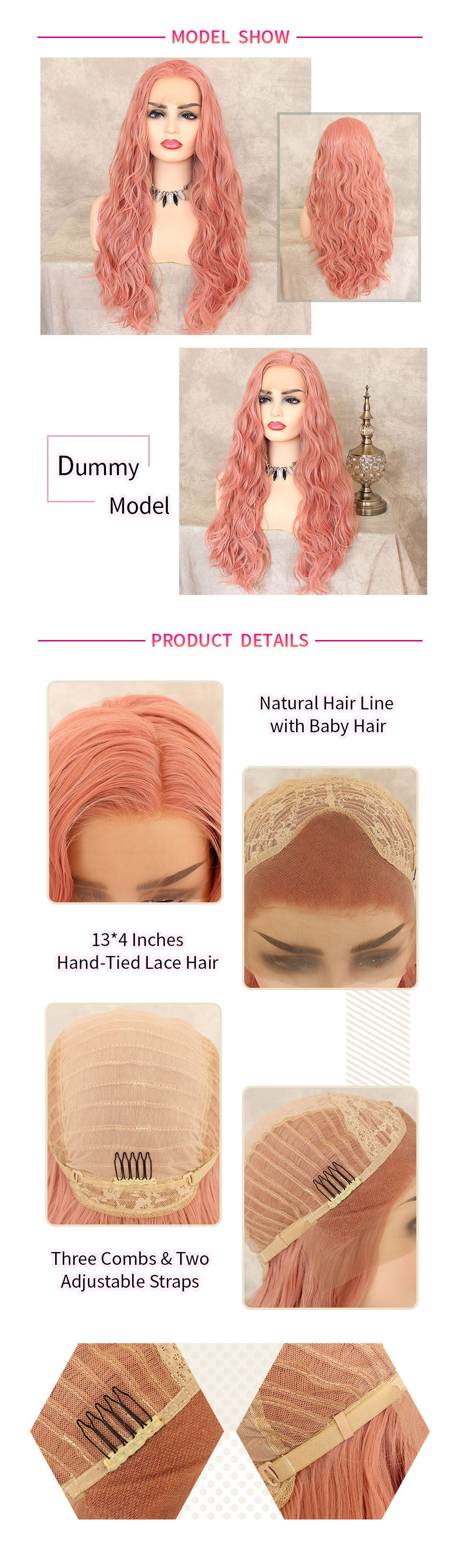 ReadyWig Pink Body Wave Synthetic Lace Front Wig 24 Inches-hair details