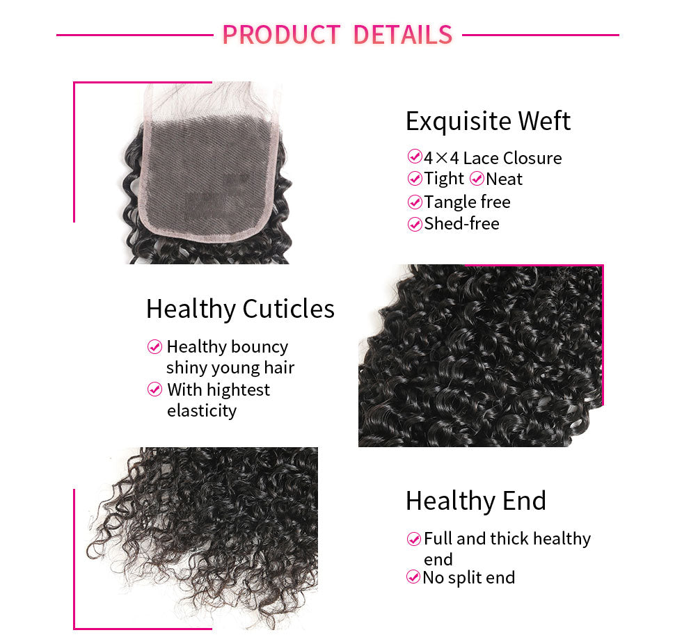 ReadyWig 9A Grade Jerry Curly 4×4 Closure with Optional Free/ Central/ Side Part-hair details