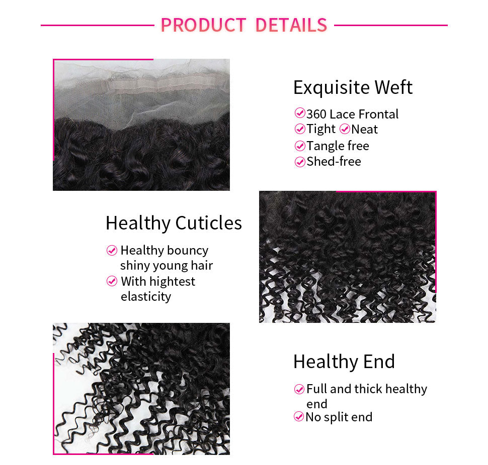 ReadyWig 9A Grade Jerry Curly Free-Parting 360 Frontal-details