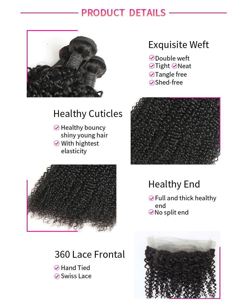 ReadyWig Jerry Curly 360 Frontal + 3 Bundles 9A Grade Human Virgin Remy Hair Weaves-hair details