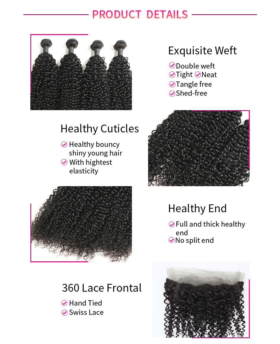 ReadyWig Jerry Curly 360 Frontal + 4 Bundles 9A Grade Human Virgin Remy Hair Weaves-hair details