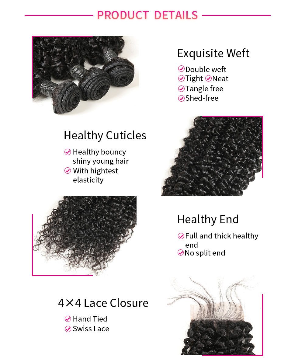 ReadyWig Jerry Curly 4×4 Closure + 3 Bundles 9A Grade Human Virgin Remy Hair Weaves-hair details