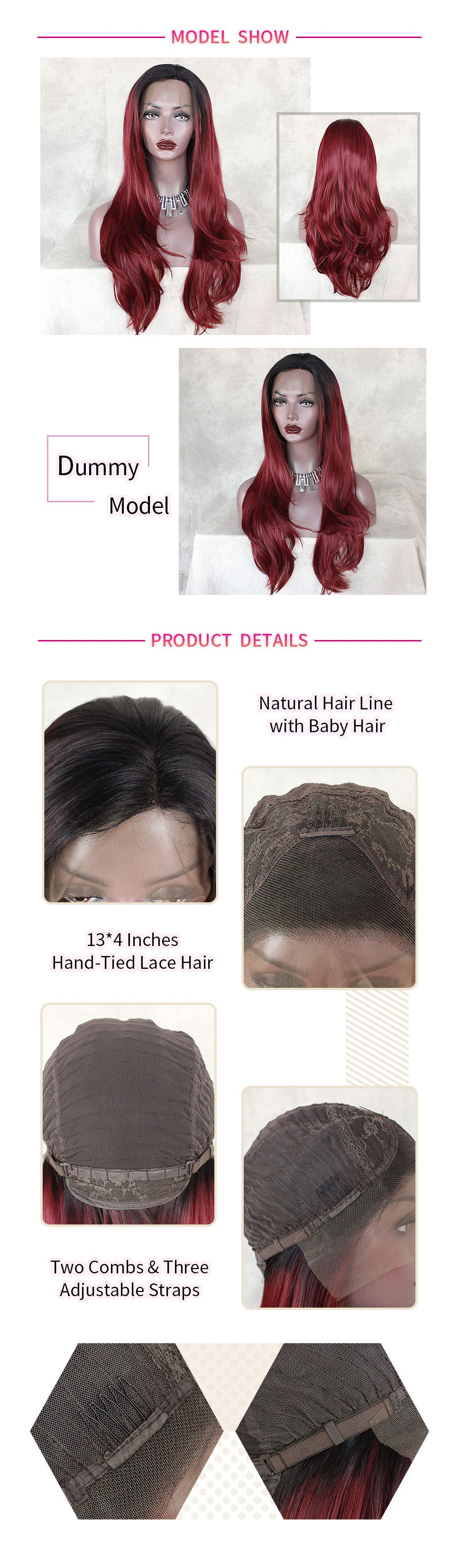 ReadyWig Red Color Natural Straight Synthetic Lace Front Wig 22 Inches-hair details