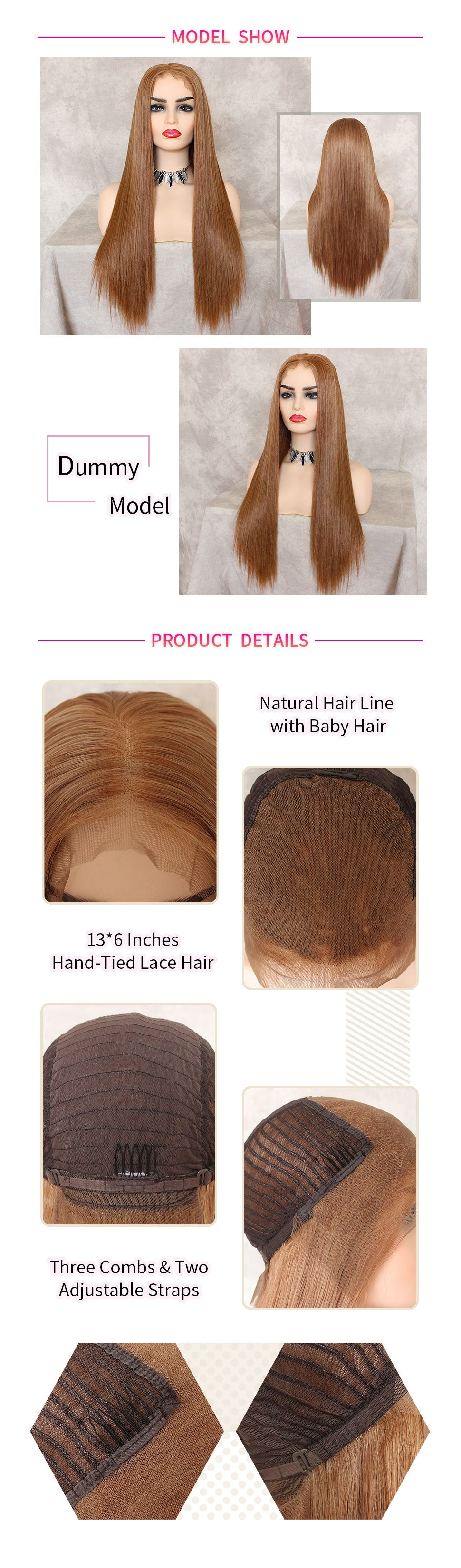 ReadyWig Strawberry Blonde Silky Straight Hair 13*6 Lace Front Wig hair details