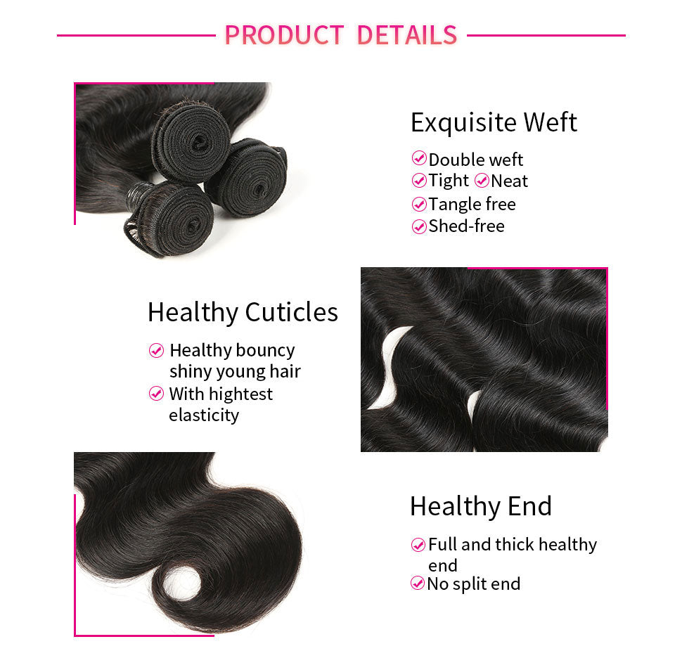 ReadyWig 3 Pieces Body Wave 9A Grade Human Virgin Remy Hair Weaves-hair details
