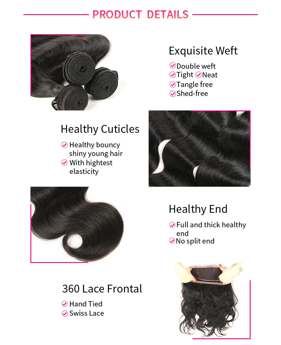 ReadyWig Body Wave 13×4 Frontal + 3 Bundles 9A Grade Human Virgin Remy Hair Weaves-Hair Details