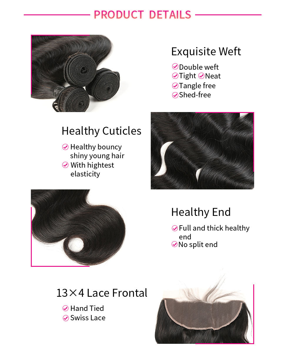 ReadyWig Body Wave 13×4 Frontal + 4 Bundles 9A Grade Human Virgin Remy Hair Weaves-Hair Details