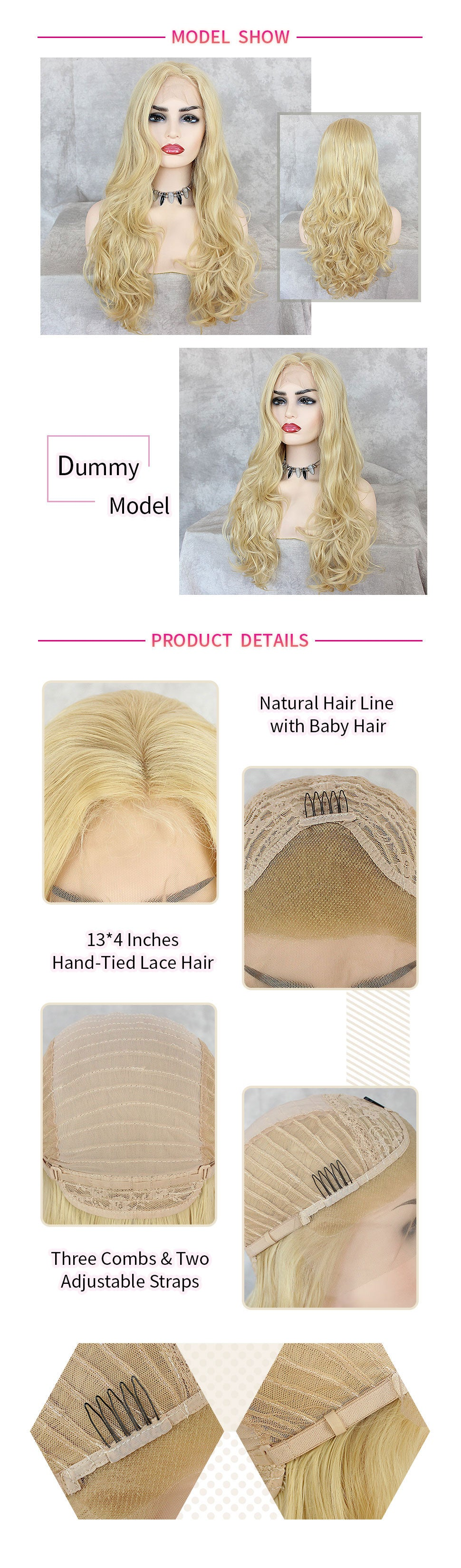 ReadyWig Blonde Body Wave Synthetic Lace Front Wig 24 Inches-hair details