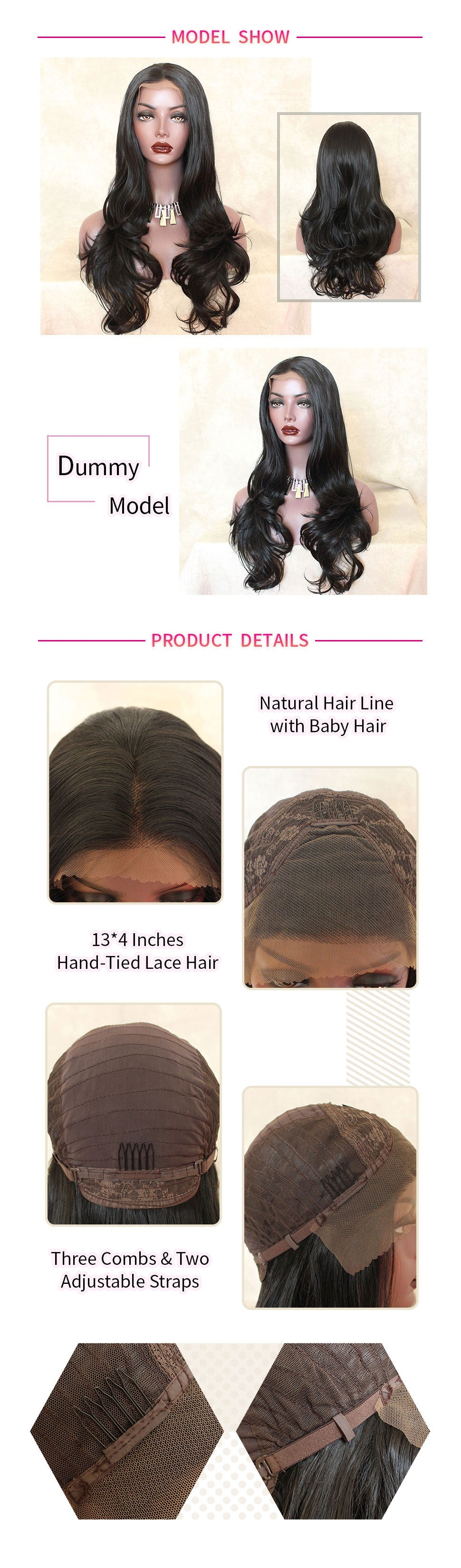 ReadyWig Black Body Wave Center Part Synthetic Lace Front Wig 24 Inches-hair details