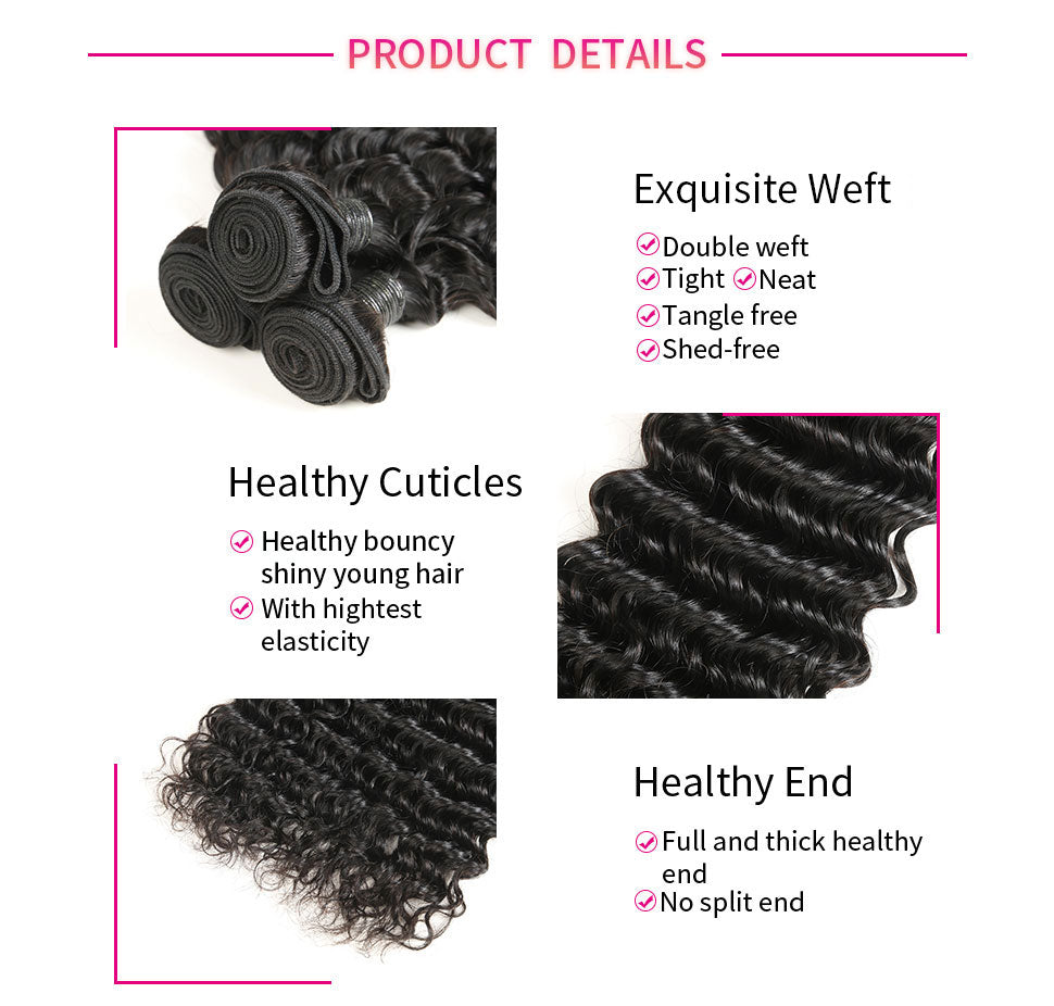 ReadyWig 3 Pieces Deep Wave 9A Grade Human Virgin Remy Hair Weaves-hair details