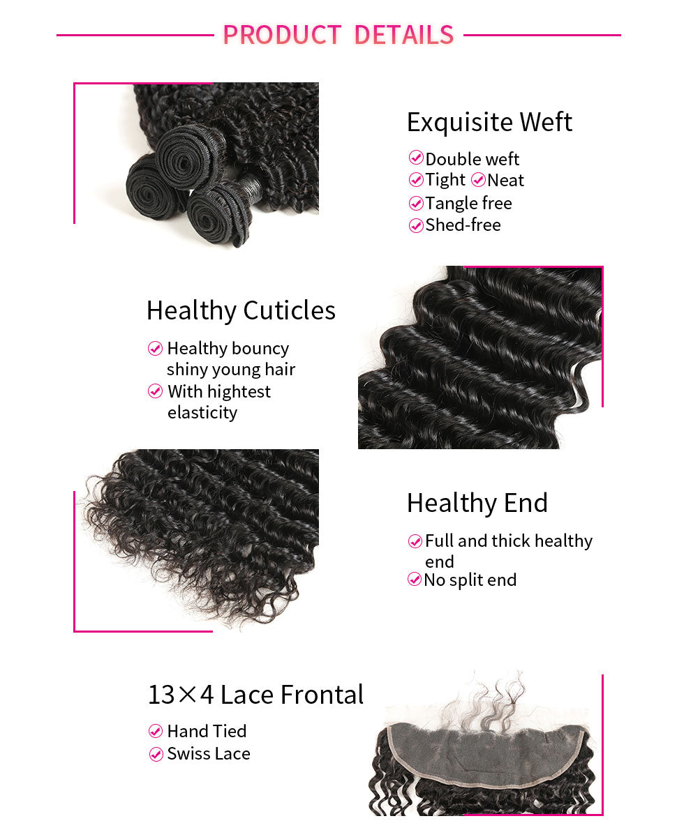 ReadyWig Deep Wave 13×4 Frontal + 3 Bundles 9A Grade Human Virgin Remy Hair Weaves-Hair Details