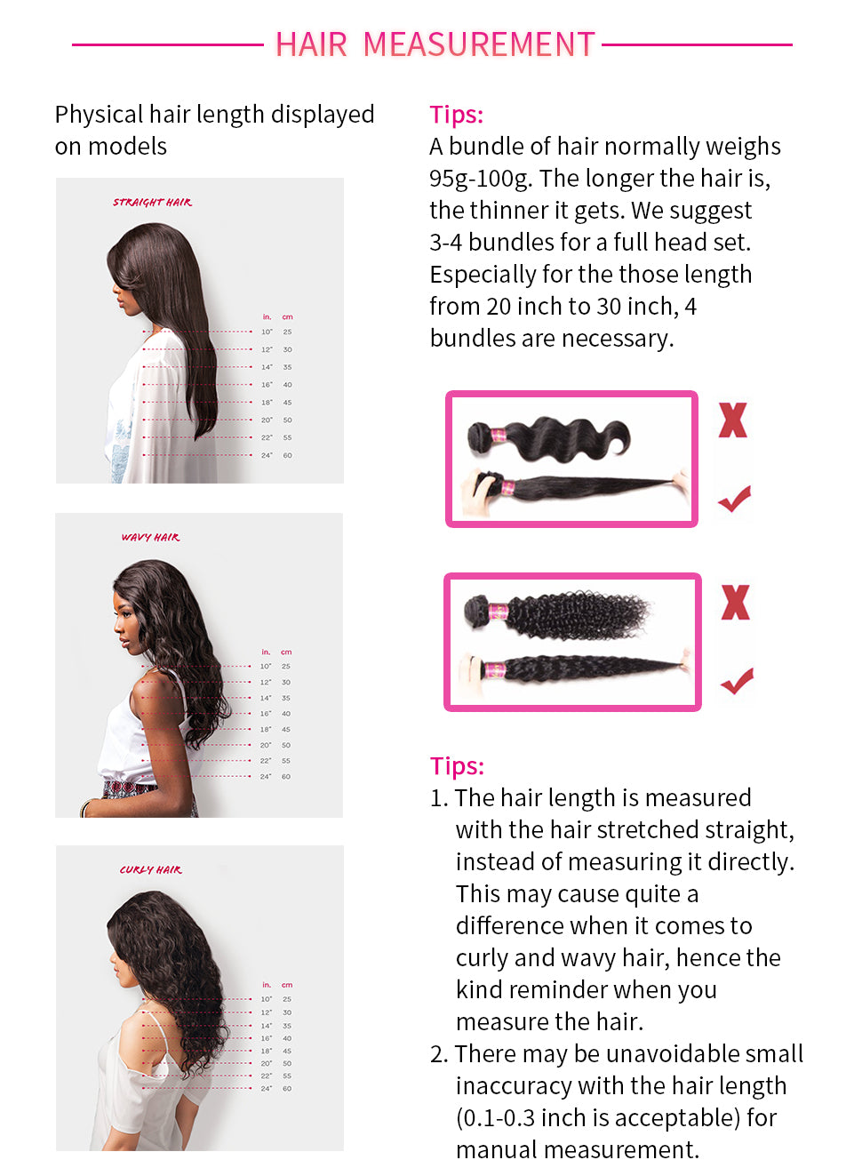 how to measure the length of human hair weave