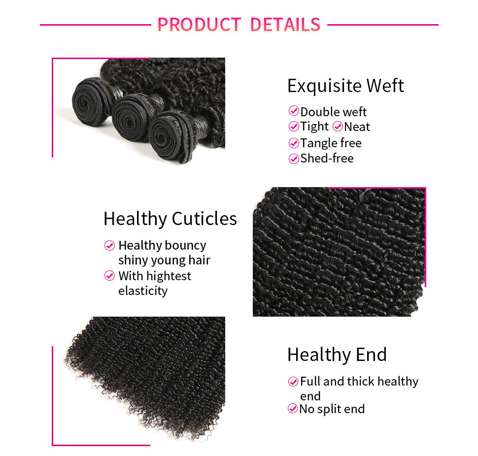 ReadyWig 3 Pieces Kinky Curly 9A Grade Human Virgin Remy Hair Weaves-hair details