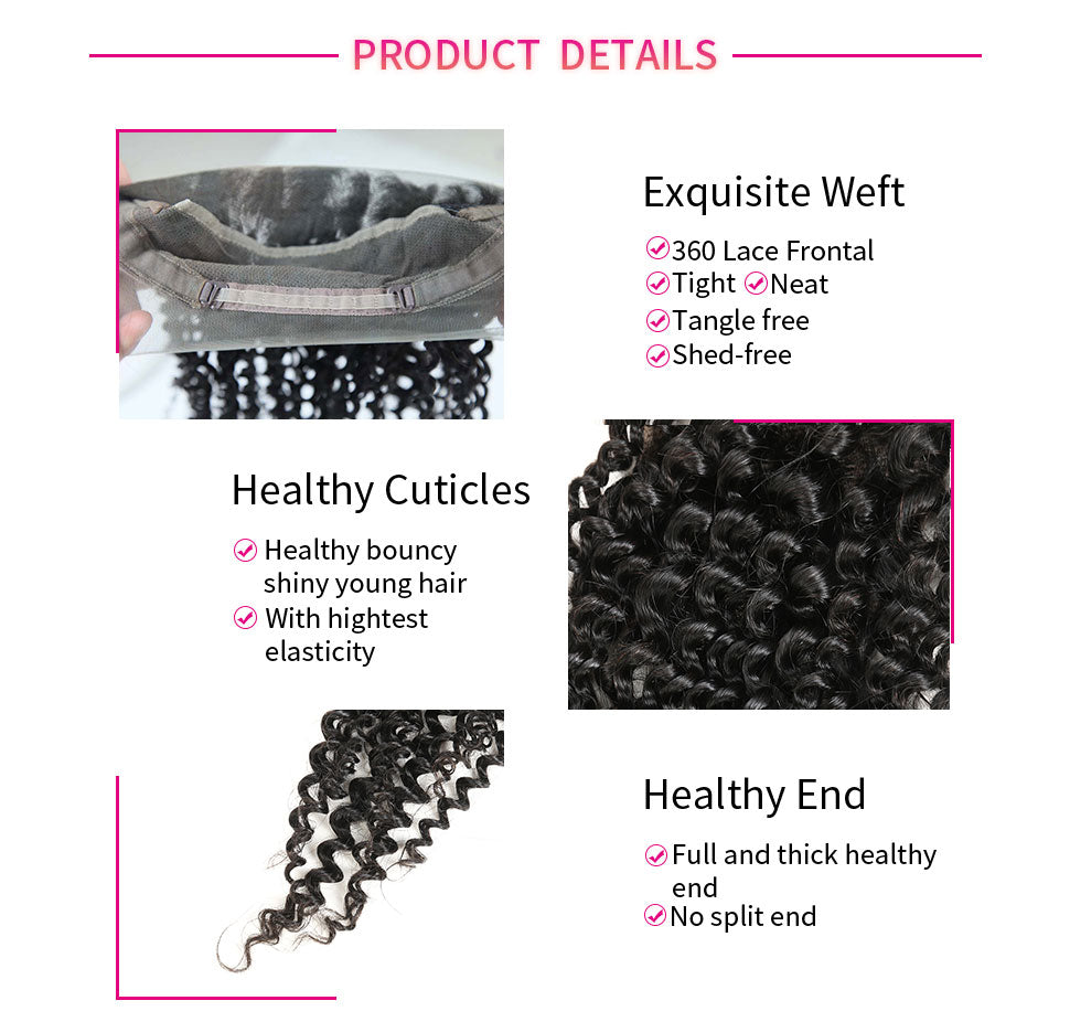 ReadyWig Kinky Curly Free-Parting 360 Frontal-Hair Details
