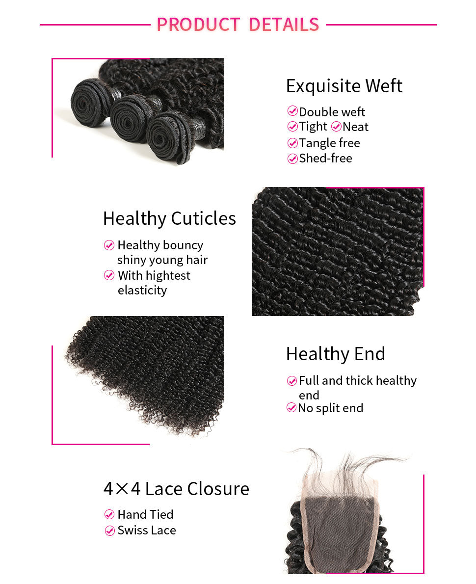 ReadyWig Kinky Curly 4×4 Closure + 3 Bundles 9A Grade Human Virgin Remy Hair Weaves-Hair Details