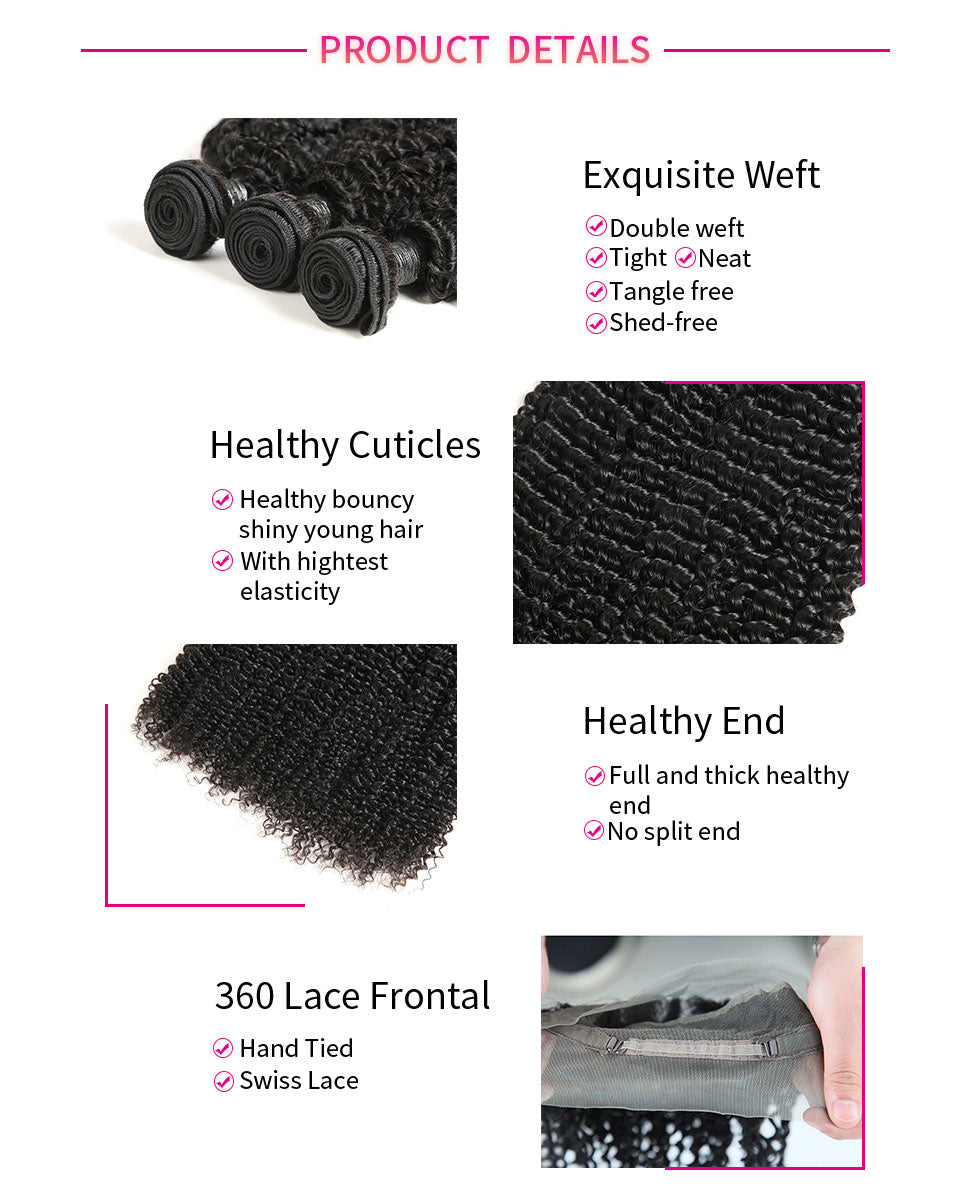 ReadyWig Kinky Curly 360 Frontal + 4 Bundles 9A Grade Human Virgin Remy Hair Weaves-Hair Details