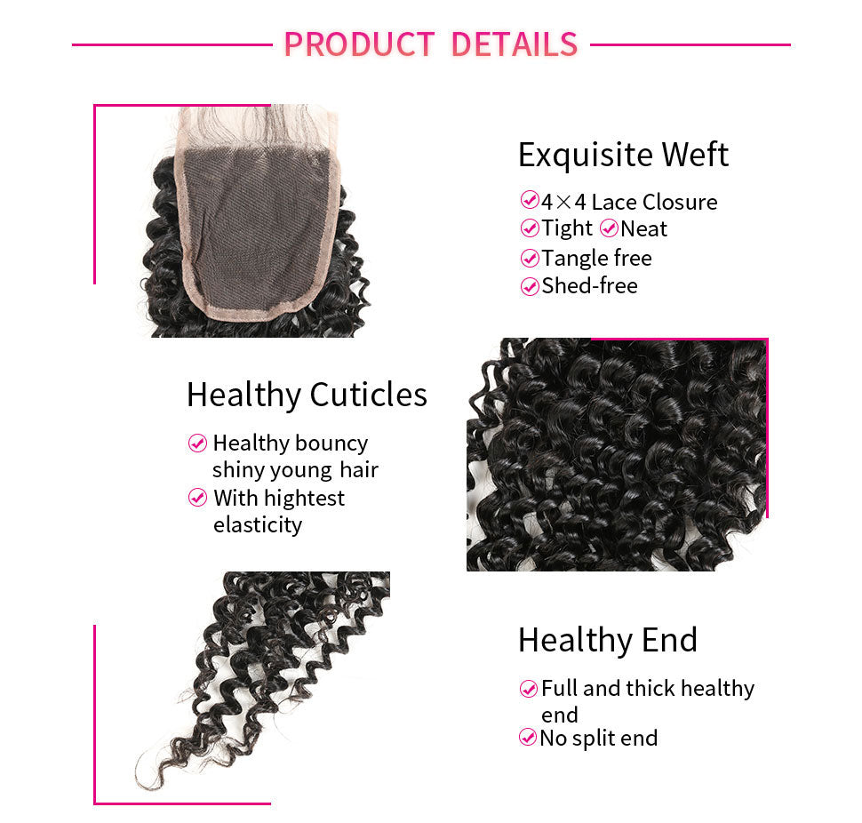 ReadyWig Kinky Curly 4×4 Closure with Optional Free/ Central/ Side Part-Hair Details