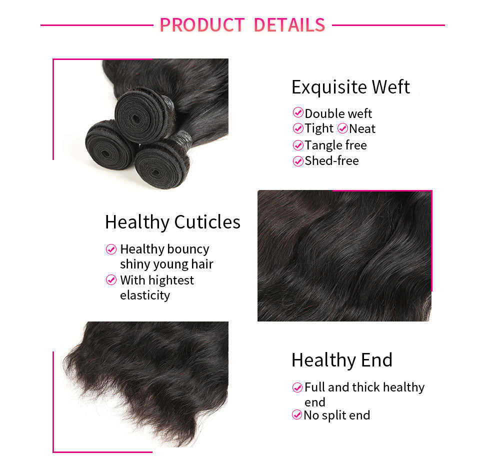 ReadyWig 4 Pieces Natural Wave 9A Grade Human Virgin Remy Hair Weaves-hair details