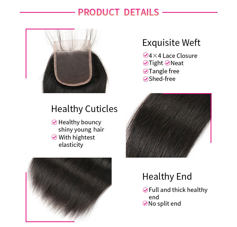 ReadyWig Straight 4×4 Closure with Optional Free/ Central/ Side Part-Hair Details