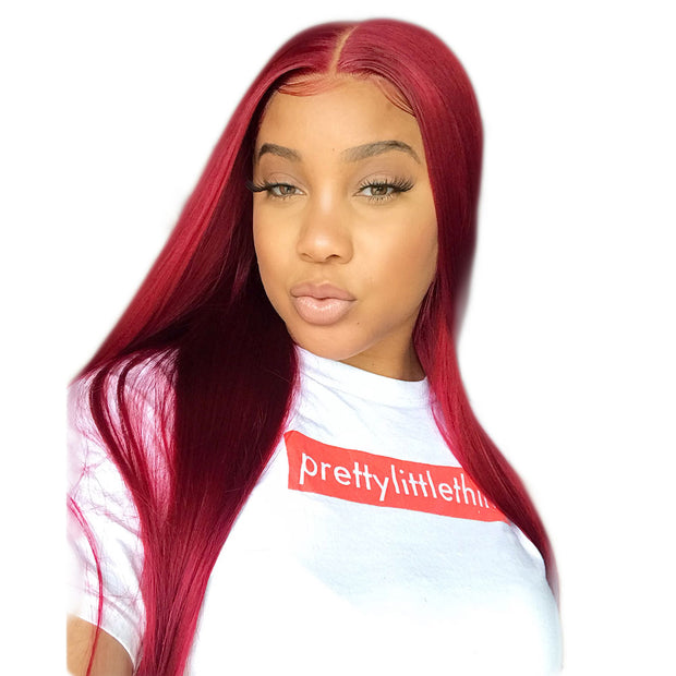 ReadyWig Red Straight Hair 13*6 Lace Front Synthetic Wig 24 Inches