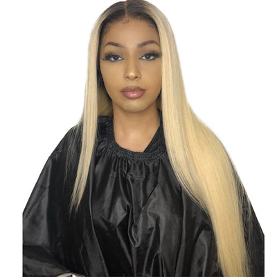ReadyWig 613 Blonde Silky Straight Human Hair Lace Front Wig with Dark Roots - Customized