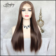 Linen Brown Lace Front Wig Natural Looking Silky wavy Free Parting Heat Resistant Lace Glueless Synthetic Wig