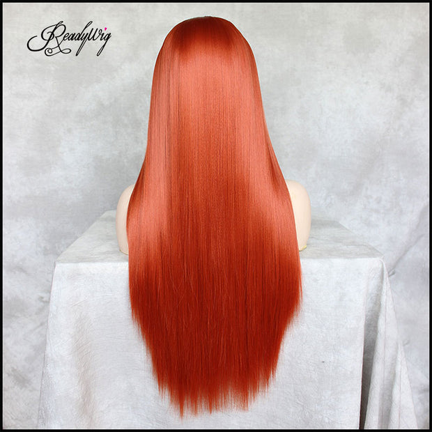 Orange Lace Front Wig Natural Looking Body Wavy Free Parting Heat Resistant Lace Glueless Fiber Wig