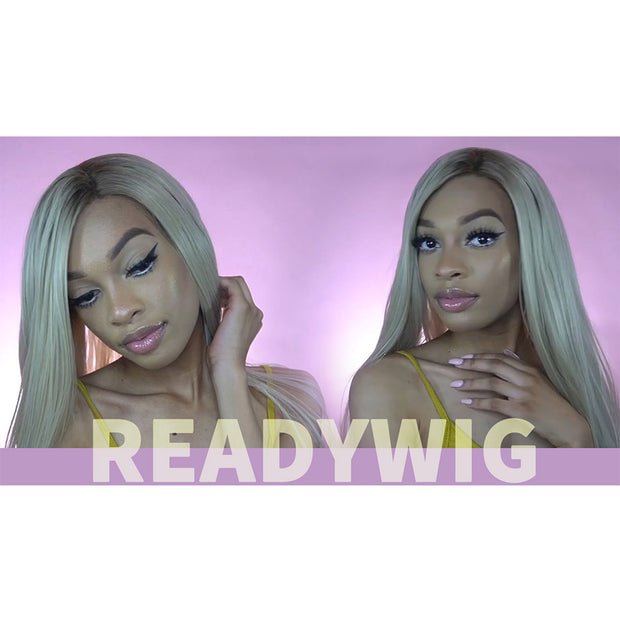ReadyWig Ash Blonde Natural Straight Synthetic Lace Front Wig 22 Inches
