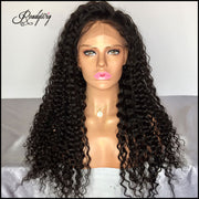 black curly wig Remy human hair wig wet and wavy wig deep curly lace front wig